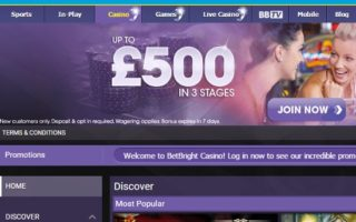 BetBright Casino: £500 Bonus