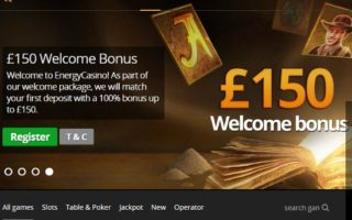Energy Casino: £150 Bonus