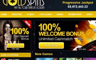 Gold Spins Casino: 100% Bonus