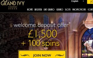 Grand Ivy Casino: £1500 Bonus