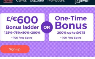 Casino Pop: £600 Bonus